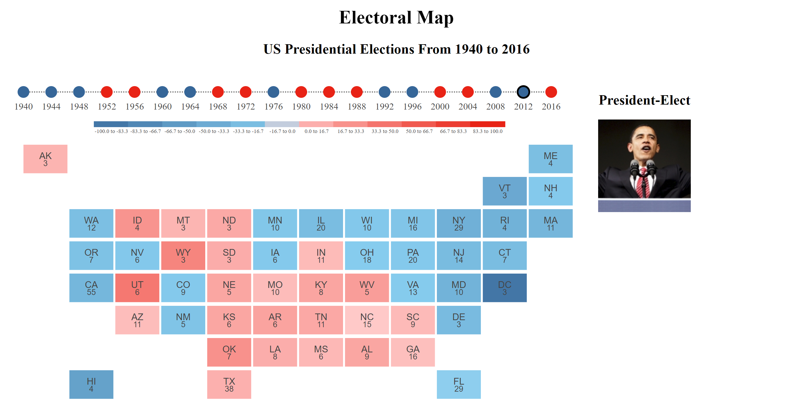 Electoral map cartogram